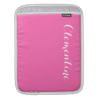 Solid Hot Pink Background, Name Monogram iPad Sleeve