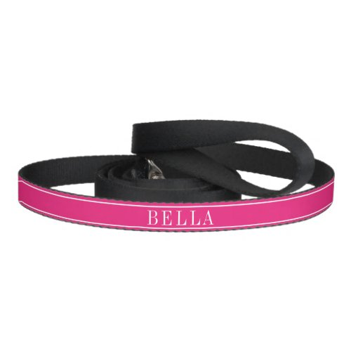 Solid Hot Pink Color with Personalized Name Pet Leash