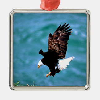 Solid Landing bald eagle bird predator Metal Ornament