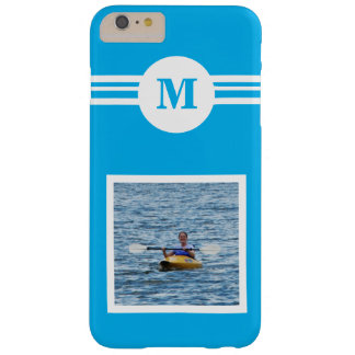 Solid light Blue custom monogram, add photo Barely There iPhone 6 Plus Case