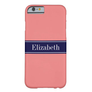 Solid Light Coral, Navy Blue Ribbon Name Monogram Barely There iPhone 6 Case