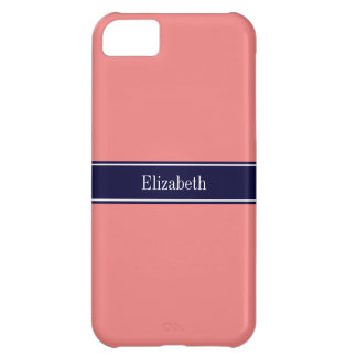 Solid Light Coral, Navy Blue Ribbon Name Monogram iPhone 5C Case