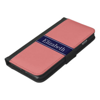 Solid Light Coral, Navy Blue Ribbon Name Monogram iPhone 6/6s Plus Wallet Case