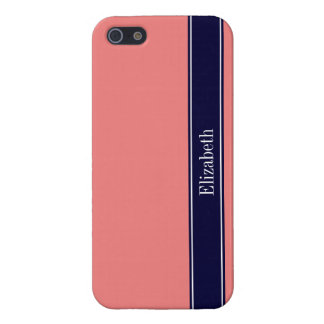 Solid Light Coral, Navy Blue Ribbon Name Monogram iPhone SE/5/5s Case