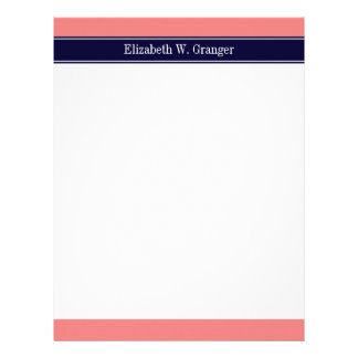 Solid Light Coral, Navy Blue Ribbon Name Monogram Letterhead