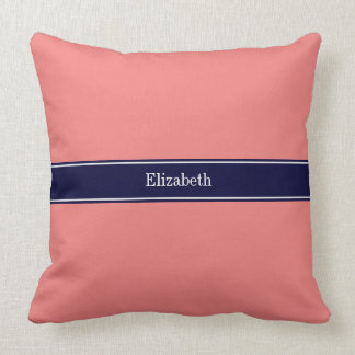 Solid Light Coral, Navy Blue Ribbon Name Monogram Throw Pillow