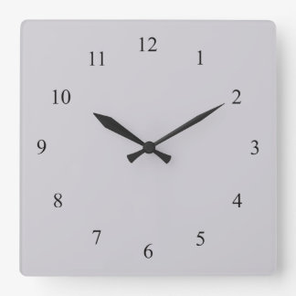 Solid Light Gray with Black Numbers Wall Clock