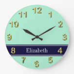 Solid Light Mint, Navy Blue Ribbon Name Monogram Wall Clock