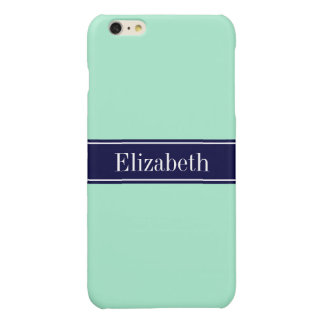 Solid Light Mint, Navy Blue Ribbon Name Monogram Glossy iPhone 6 Plus Case