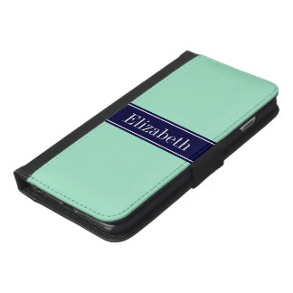 Solid Light Mint, Navy Blue Ribbon Name Monogram iPhone 6/6s Plus Wallet Case