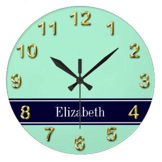 Solid Light Mint, Navy Blue Ribbon Name Monogram Large Clock