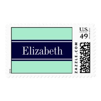 Solid Light Mint, Navy Blue Ribbon Name Monogram Postage