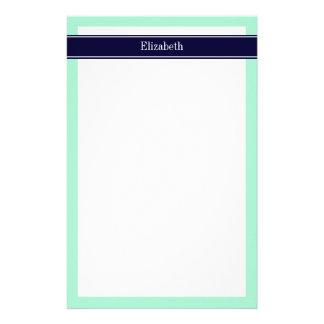 Solid Light Mint, Navy Blue Ribbon Name Monogram Stationery