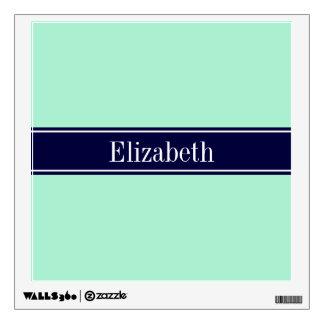 Solid Light Mint, Navy Blue Ribbon Name Monogram Wall Sticker