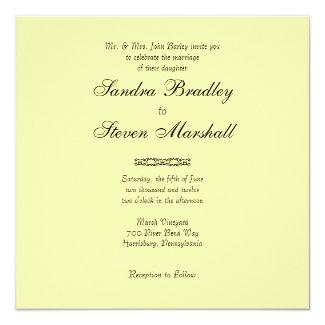 "Solid Light Yellow Wedding Invitations 5.25"" Square Invitation Card"