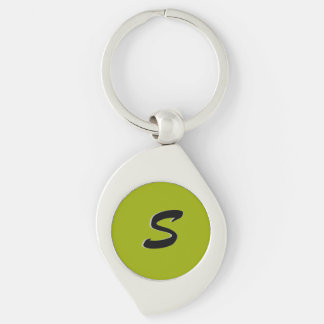 Solid Lime Green Initial Keychain