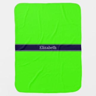Solid Lime Green, Navy Blue Ribbon Name Monogram Baby Blanket