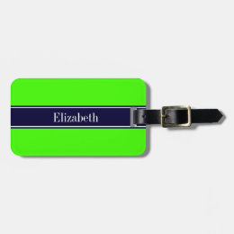 Solid Lime Green, Navy Blue Ribbon Name Monogram Bag Tag