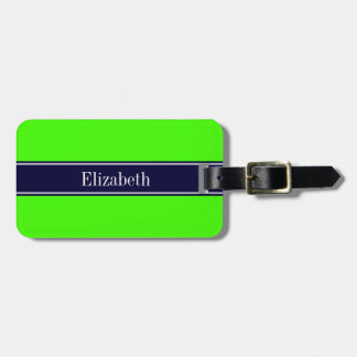 Solid Lime Green, Navy Blue Ribbon Name Monogram Bag Tag
