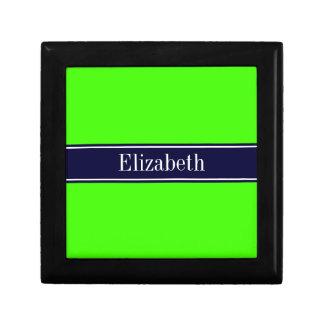 Solid Lime Green, Navy Blue Ribbon Name Monogram Gift Box