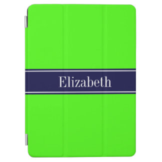 Solid Lime Green Navy Blue Ribbon Name Monogram iPad Air Cover