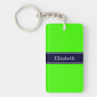 Solid Lime Green, Navy Blue Ribbon Name Monogram Keychain