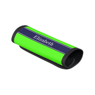 Solid Lime Green, Navy Blue Ribbon Name Monogram Luggage Handle Wrap