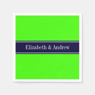 Solid Lime Green, Navy Blue Ribbon Name Monogram Paper Napkin