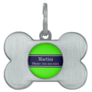 Solid Lime Green, Navy Blue Ribbon Name Monogram Pet Tag