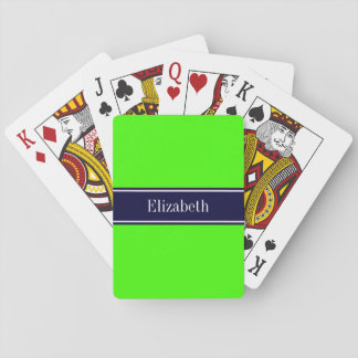 Solid Lime Green, Navy Blue Ribbon Name Monogram Playing Cards
