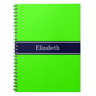 Solid Lime Green, Navy Blue Ribbon Name Monogram Spiral Notebook