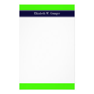 Solid Lime Green, Navy Blue Ribbon Name Monogram Stationery