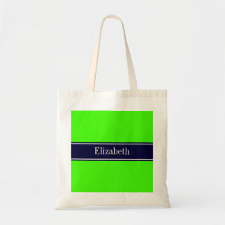 Solid Lime Green, Navy Blue Ribbon Name Monogram Tote Bag