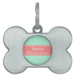 Solid Lt Mint, Lt Coral Ribbon Name Monogram Pet Tag