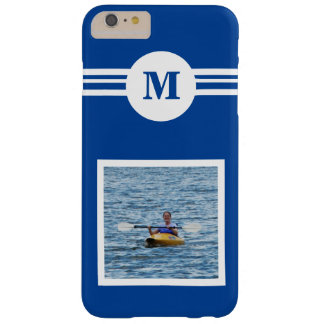 Solid Med. Blue custom monogram initial, add photo Barely There iPhone 6 Plus Case