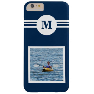 Solid Medium Blue custom monogram, add photo Barely There iPhone 6 Plus Case