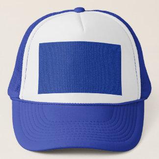 Solid Medium Blue Knit Stockinette Stitch Pattern Trucker Hat
