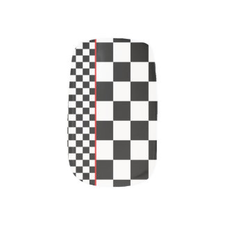 Solid Nail Coating, Black & White, Red Accents Minx® Nail Wraps