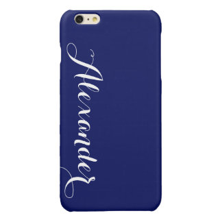 Solid Navy Blue Background, Name Monogram Glossy iPhone 6 Plus Case