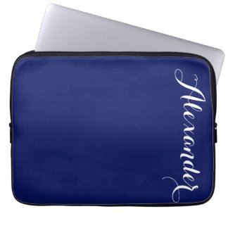 Solid Navy Blue Background, Name Monogram Laptop Sleeve