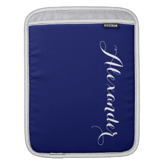 Solid Navy Blue Background, Name Monogram Sleeve For iPads