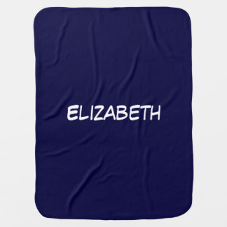 Solid Navy Blue Blue Background, Name Monogram Baby Blanket