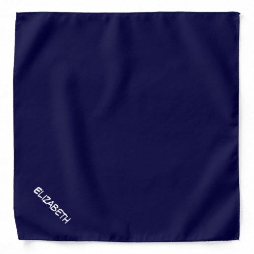 Solid Navy Blue Blue Background, Name Monogram Bandana