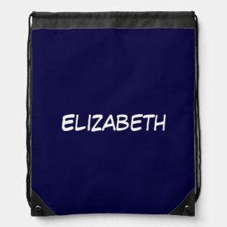 Solid Navy Blue Blue Background, Name Monogram Drawstring Backpack