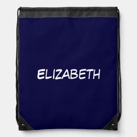 Solid Navy Blue Blue Background, Name Monogram Drawstring Bag