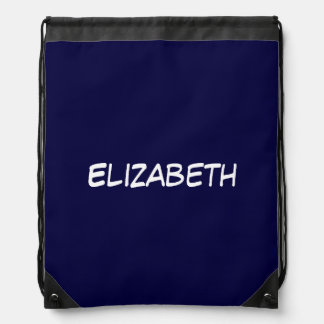 Solid Navy Blue Blue Background, Name Monogram Drawstring Backpacks