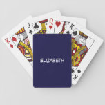 """Solid Navy Blue Blue Background, Name Monogram Playing Cards<br><div class=""""desc"""">Solid Navy Blue Background, Name Monogram Customize this with your name or other text. You can also change fonts, adjust font sizes and font colors, move the text, etc. Need this pattern in other colors or designs? Just drop us an email and let us know! 2014 &#169;FantabulousPatterns All rights reserved...</div>"""