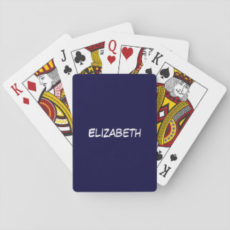 Solid Navy Blue Blue Background, Name Monogram Playing Cards