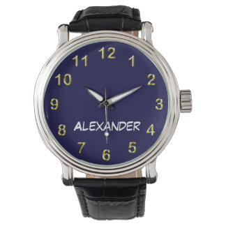 Solid Navy Blue Blue Background, Name Monogram Watch