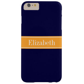 Solid Navy Blue, Cantaloupe Ribbon Name Monogram Barely There iPhone 6 Plus Case